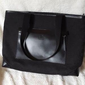 Gucci Monogram Nylon and Leather Pocket Tote Bag.